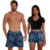 Kit Shorts Casal Masculino e Feminino Floral Azul Use Thuco - Imagem 1