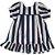 VESTIDO - KIT 3 Peças (Vestido + Calcinha + Faixa de cabeça) Azul listrado - Imagem 1