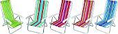 Cadeira de Praia em Alumínio Reclinável 4 Posições Estampada em Listras Coloridas - Imagem 1