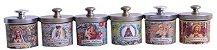 Conjunto 6 Velas Potes Decorativas com Estampas Religiosas - Imagem 1