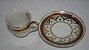 Xícara Chá Café Com Pires Porcelana Steatita Branca E Bordo - Imagem 2
