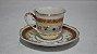 Xícara Chá Café Com Pires Porcelana Steatita Branca E Bordo - Imagem 1
