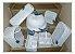 kit vime branco com cerâmica pássaro azul  - Imagem 1