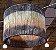 Pendente redondo ou cúpula em palha cores roxo,laranja e natural 36x36 - Imagem 1