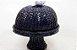 Boleira com pé em vime azul com caracol 35x36 cm - Imagem 1