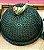 Boleira verde em vime com periquito verde.  D=35 x H=15 cm - Imagem 1