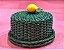 Porta queijo verde em vime com limão siciliano.  D=28 x H=14cm - Imagem 1