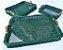 KIT Bandeja verde folha em vime verniz com alça e vidro - Imagem 1