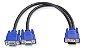 Cabo VGA Y 1 Macho Para VGA 2 Fêmea - Ligue 2 Monitores Em 1 Cpu - Imagem 1