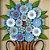 Quadro Decorativo Vaso De Flores Azuis Madeira Luxo - Imagem 3