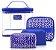 Kit Necessaire 4 em 1 Geométrica Étnica Poliéster e Pvc Azul - Imagem 2
