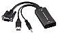 ADAPTADOR MULTILASER VGA MACHO P/ HDMI COM SAIDA AUDIO - Imagem 1