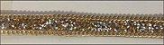 Fita Metalizada Dourada com detalhes em Prata - 15 mm - Avesso siliconado - (Venda por Metro) - Imagem 1