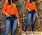 Blusa Ciganinha Jeanseria cor papaia - Imagem 1