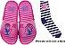 Chinelo Slide Any Malu Pink Fun Rosa Com Meia Grendene kids - Imagem 1