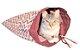 Saco de Dormir e Brincar para Gatos com Catnip Cat.Caverna Bigodiva Bordô & Bege - Imagem 5