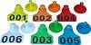 Caixa 200 brinco pequeno bovino, suíno, caprino e ovino numerado + macho de ponta metálica - Imagem 1