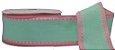 Fita Gorgurão Pesponto Verde com Rosa 05 - Imagem 1