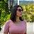 T-Shirt Modal Decote V Dente de Leão Rosa Blush - Imagem 3