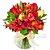 Rosas e Astromélia Vermelhas no Vaso de Vidro - Imagem 1