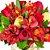 Rosas e Astromélia Vermelhas no Vaso de Vidro - Imagem 2