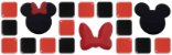 Pastilhas Adesivas Resinadas, Tema do Mickey, Faixa 28x9cm - Preto e Vermelho com laço - Imagem 1