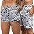 Short Jon Cotre Floral Azul e Branco Kit Casal - Imagem 1
