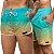 Short Jon Cotre Degrade Verde e Nude Kit casal - Imagem 1