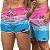 Short Jon Cotre Listrado Rosa e Azul Kit Casal - Imagem 1
