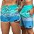 Short Jon Cotre Praia Listrado Aqua e Azul Kit Casal - Imagem 1