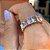 Anel Retângulos Cristais Coloridos Folheado Ouro Rosé 18k - Imagem 2