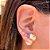 Brinco Ear Jacket Citrino Fusion & Cristal Tanzanita Fecho Pérola Folheado Ouro Amarelo 18k - Imagem 2