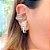Brinco Ear Hook Pérolas White de Encaixe Folheado Ródio - Imagem 2