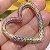 Colar Coração Cravejado Rainbow Folheado Ouro Amarelo 18k - Imagem 4