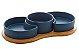 Petisqueiras Porcelana Azul Matt com Bandeja Bambu  - Imagem 2