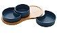 Petisqueiras Porcelana Azul Matt com Bandeja Bambu  - Imagem 3