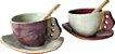 Dupla de xícaras com pires e colher - Imagem 1