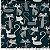 Tricoline Gato Maroto Preto, 100% Algodão, Unid. 50cm x 1,50mt - Imagem 1