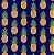 Tricoline Abacaxi - Marinho , 100% Algodão, Unid. 50cm x 1,50mt - Imagem 1
