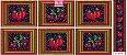 Tricoline Painel Maçãs e Cerejas (Marinho), 100% Algodão, Unid. 60cm x 1,50mt - Imagem 1