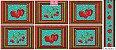 Tricoline Painel Maçãs e Cerejas (Verde), 100% Algodão, Unid. 60cm x 1,50mt - Imagem 1