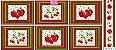 Tricoline Painel Maçãs e Cerejas (Claro), 100% Algodão, Unid. 60cm x 1,50mt - Imagem 1
