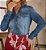 Camisa Jeans Bolsos Frontais Com Lapela Via Tolentino - 020039 - Imagem 2