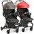 Carrinho de Bebe para Gemeos Galzerano Duolee Preto Vermelho - Imagem 1