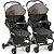 Carrinho de Bebe para Gemeos Galzerano Duolee Preto Modular - Imagem 1