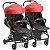 Carrinho de Bebe para Gemeos Galzerano Duolee Vermelho Modular - Imagem 1