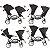 Carrinho de Bebe Para Gemeos ABC Design Zoom Piano Black Preto com 2 Bebe Conforto Risus e 2 Adaptadores - Imagem 4
