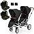 Carrinho de Bebe Para Gemeos ABC Design Zoom Piano Black Preto com 2 Bebe Conforto Risus e 2 Adaptadores - Imagem 1