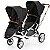Carrinho de Bebe Para Gemeos ABC Design Zoom Piano Black Preto com 2 Bebe Conforto Risus e 2 Adaptadores - Imagem 2