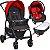 Carrinho de Bebe Bebe Conforto e Ninho Burigotto Ecco Cinza Vermelho - Imagem 1